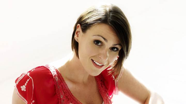 Suranne Jones Smiling In Red Dress At Mike Owen Photoshoot